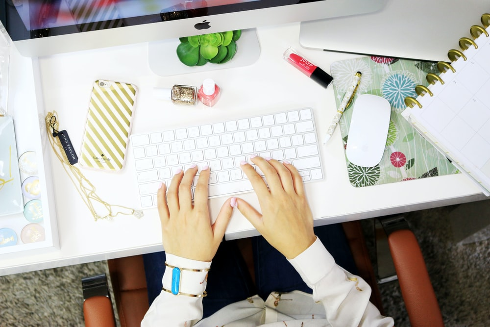 person using a desktop
