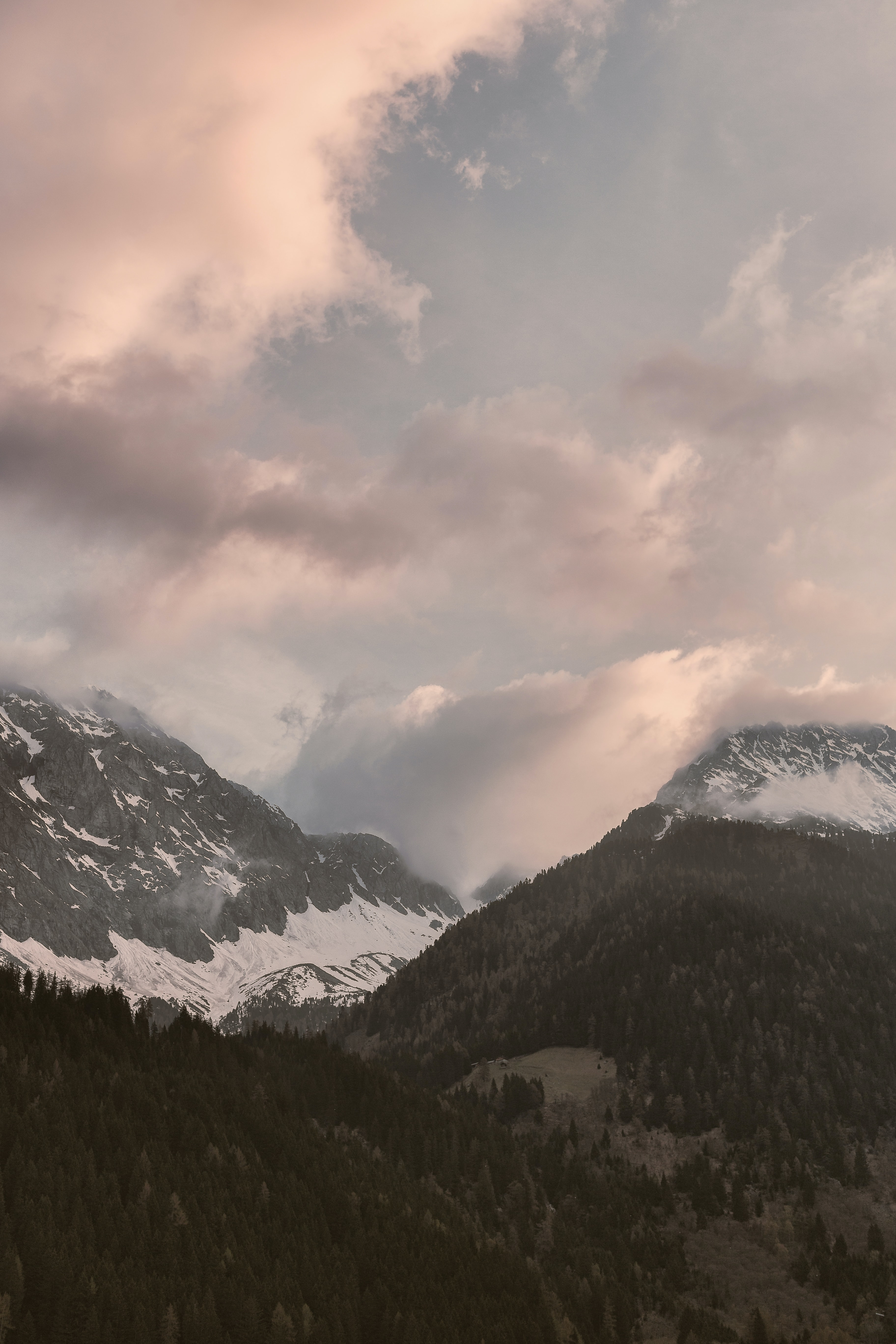 snow-covered mountains under white sky