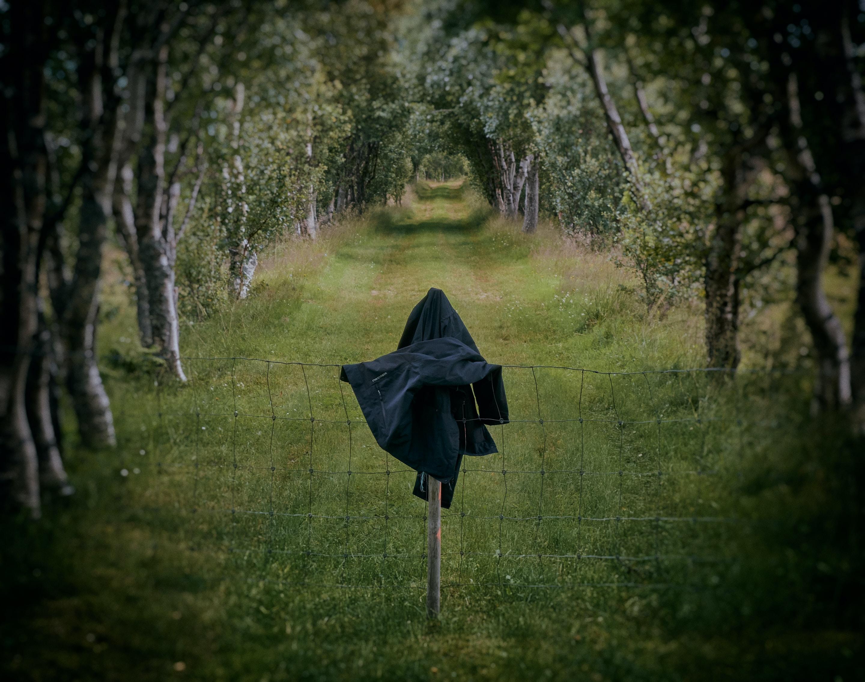 black coat on fence near trees