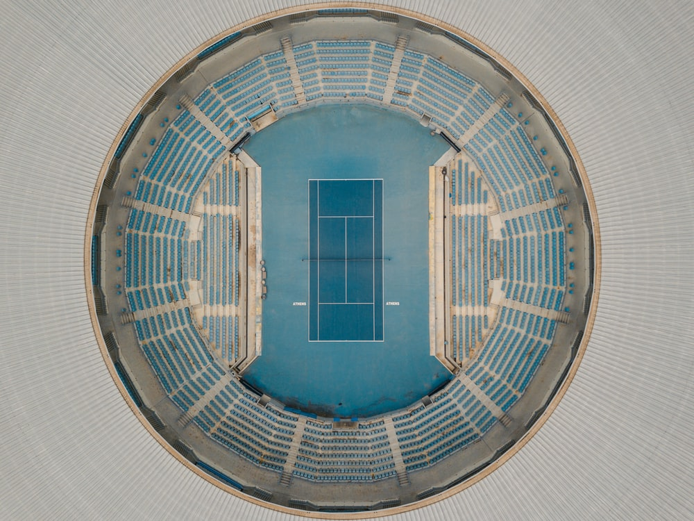 aerial photography of white and blue athletic stadium