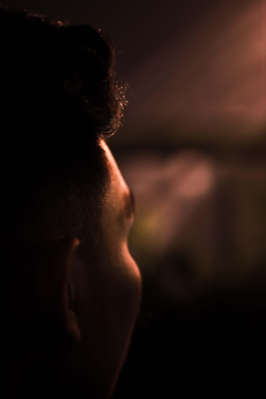 focus photo of man head