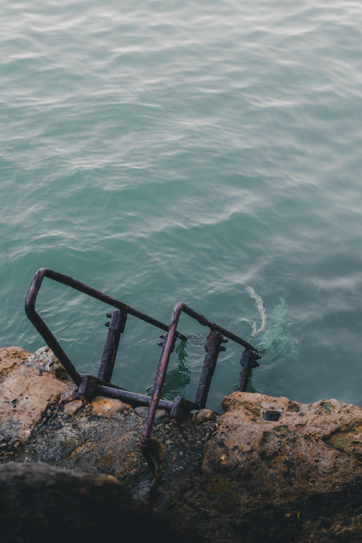 brown steel step on body of water
