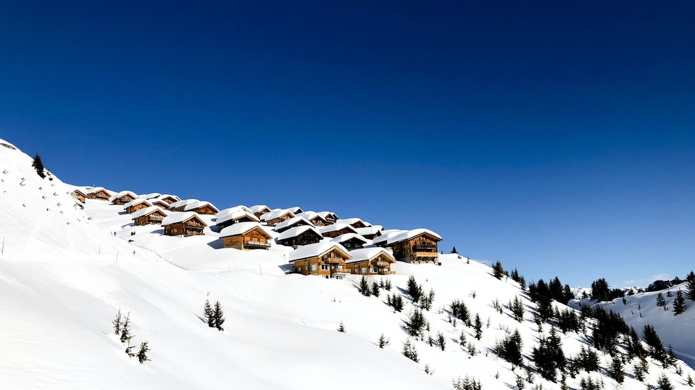 snow covered mountain with houses and trees during daytime