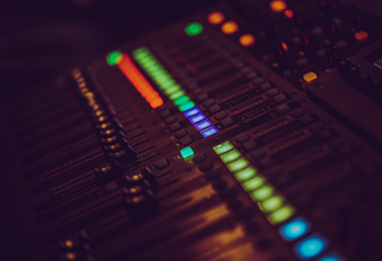 black and multicolored audio mixer