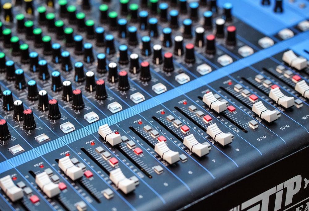 closeup photography of audio mixer