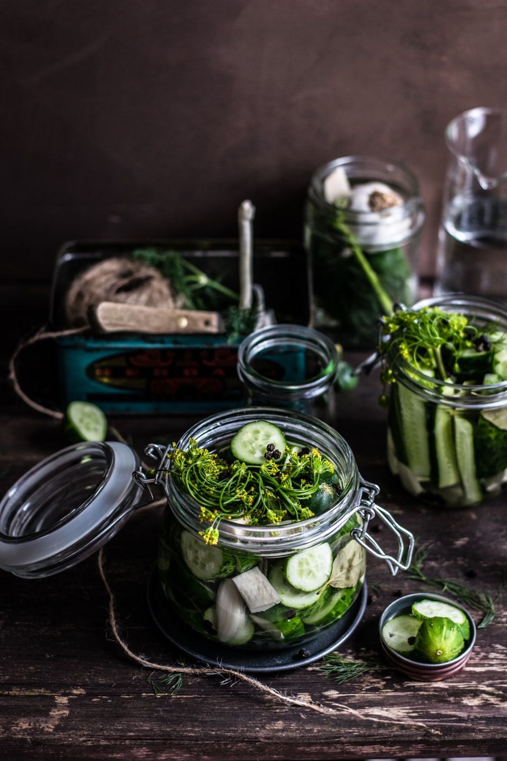 three pickled vegetables in glass mason jars selective focus photography