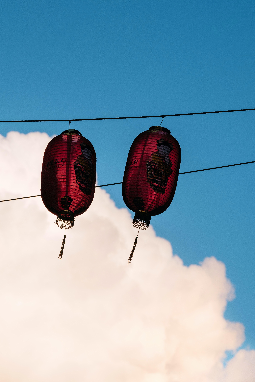 two red paper lanterns