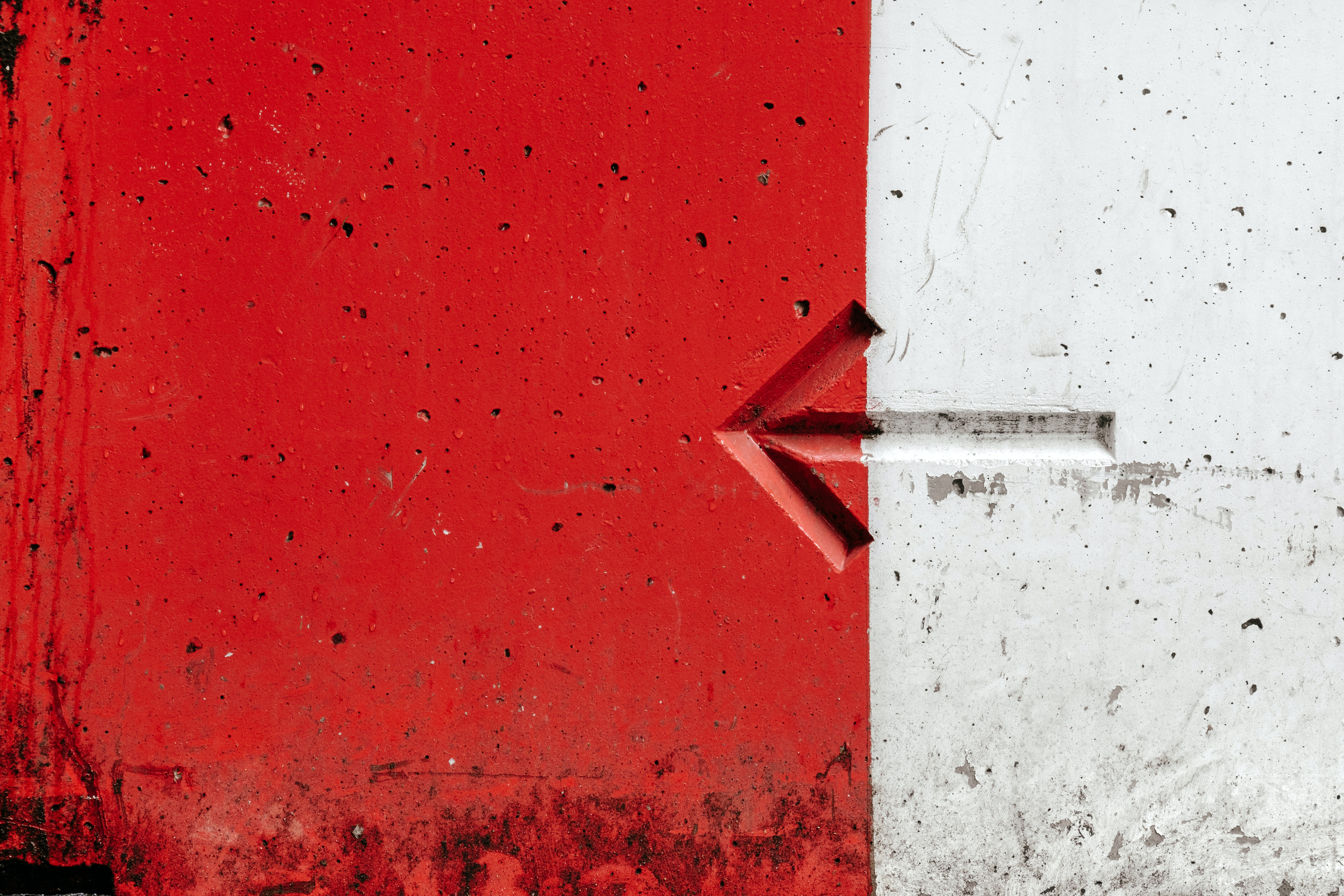 white and red painted wall