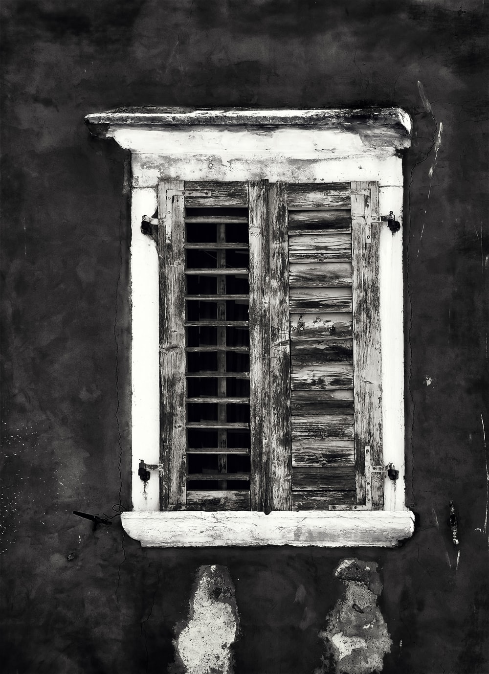 grayscale photography of opened window