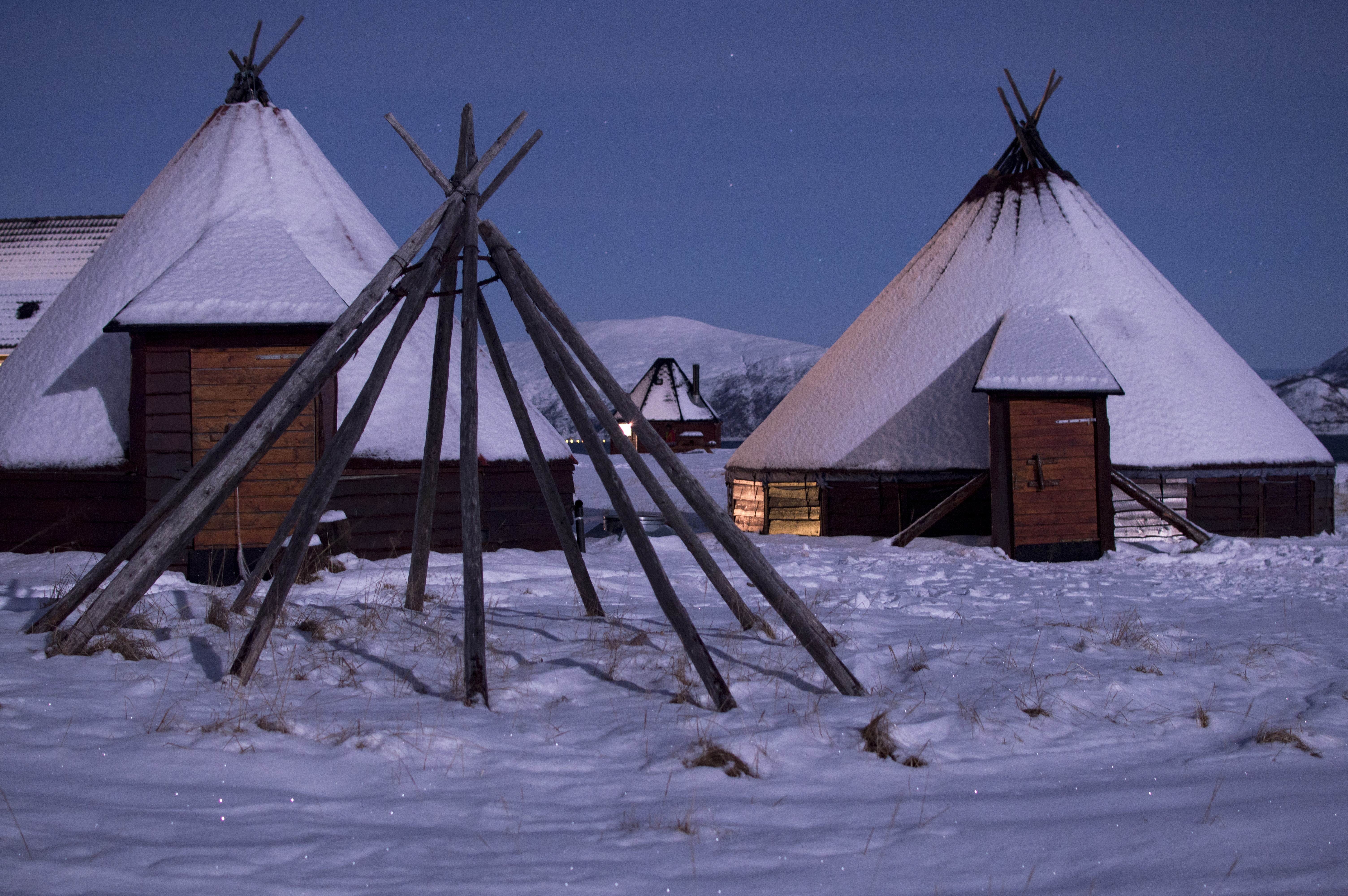 two white tents on winter