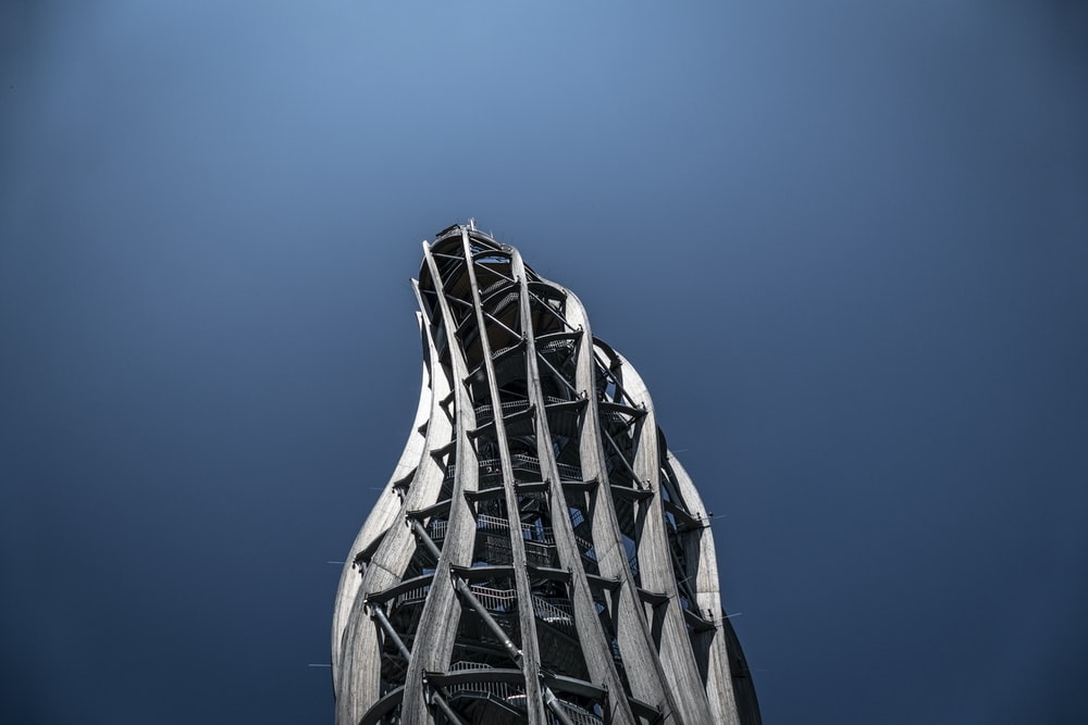 modern curved gray structure with clear skies