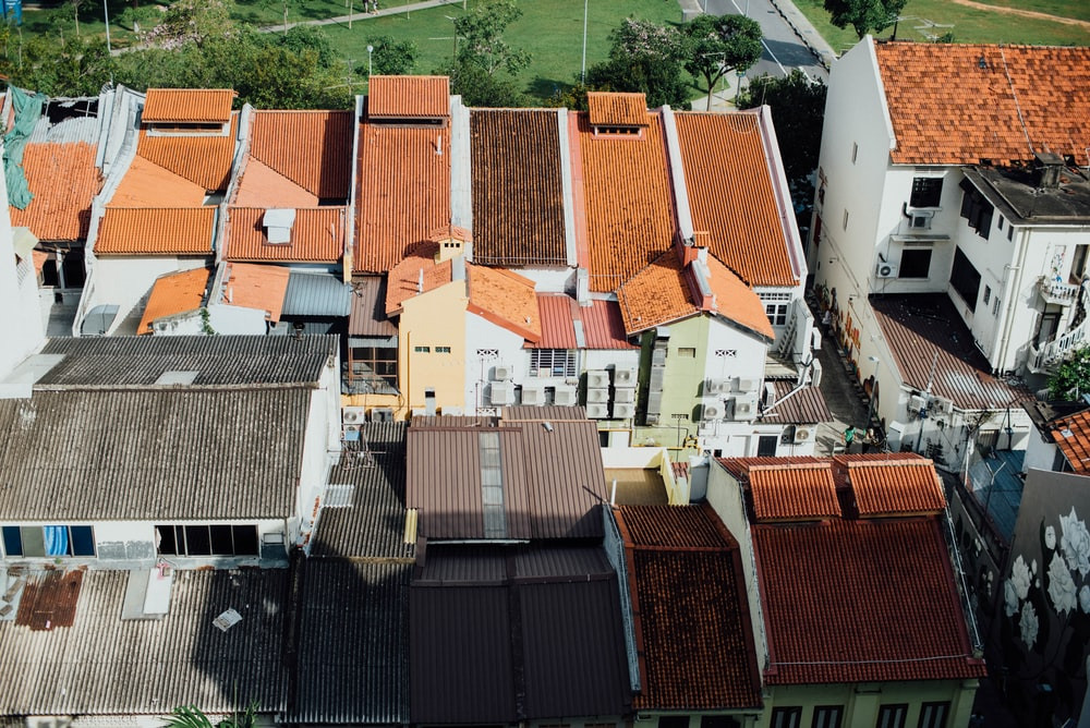 aerial view of concrete houses
