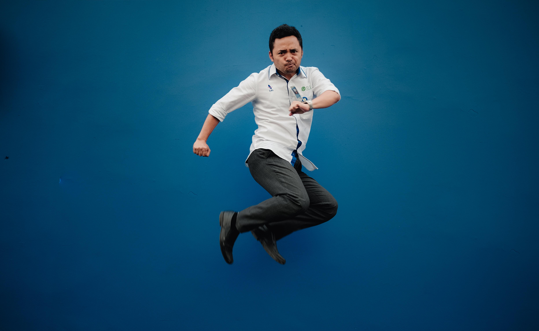 man jumping high