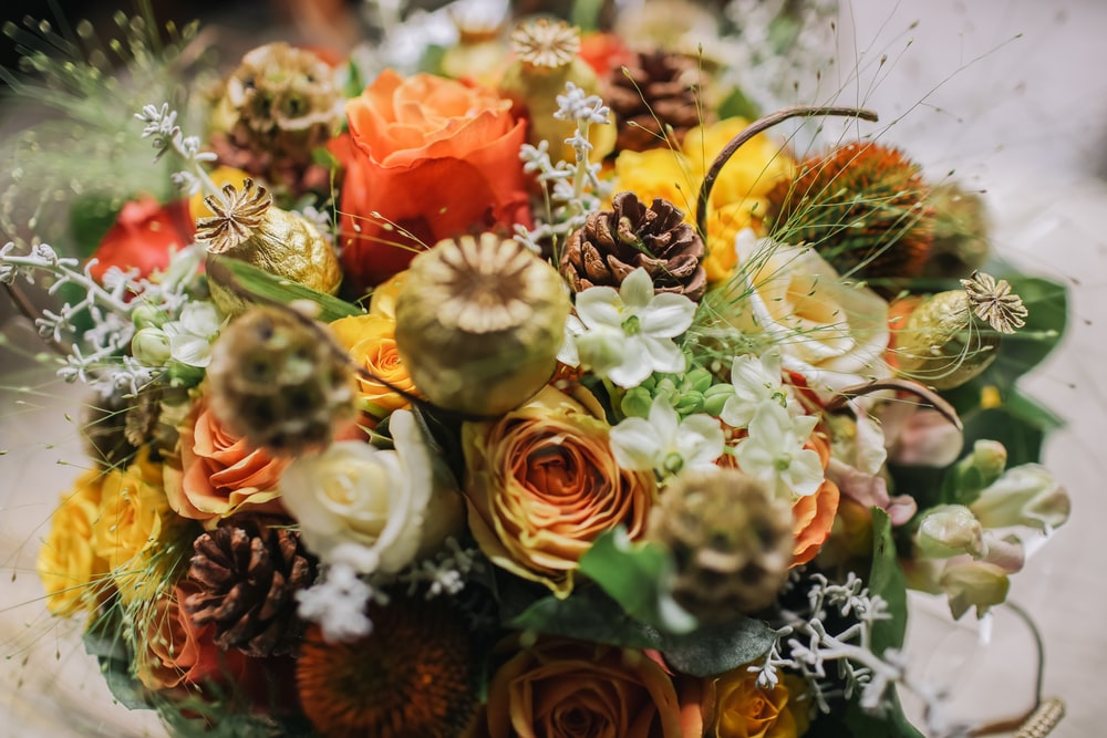 closeup photo of bouquet of flowers