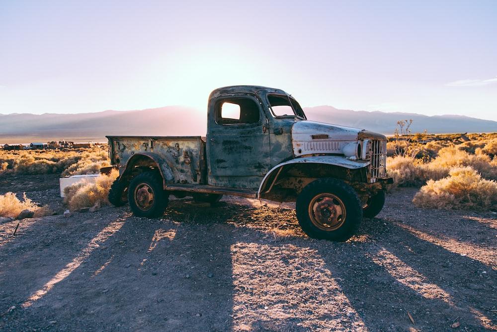 gray single cab truck on brown farm