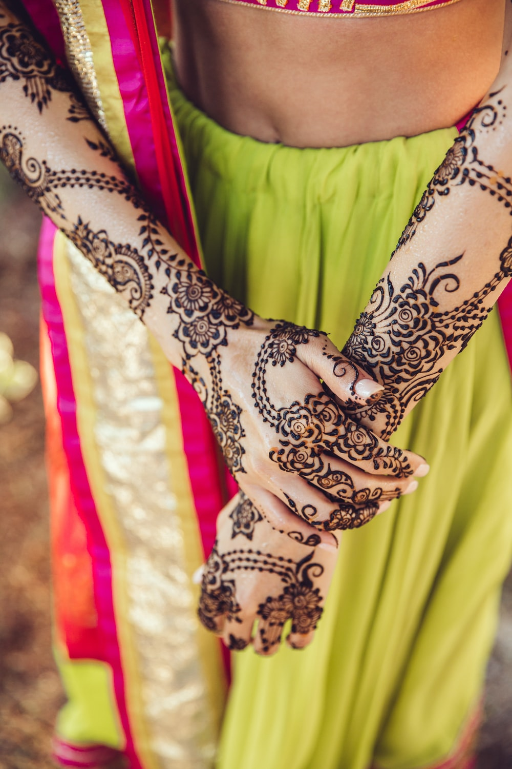 woman with mehndi tattoo