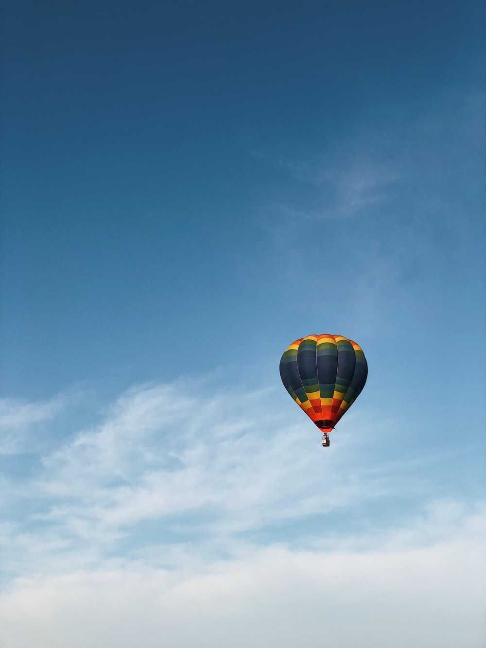 multicolored hot air balloon on cloudy sky