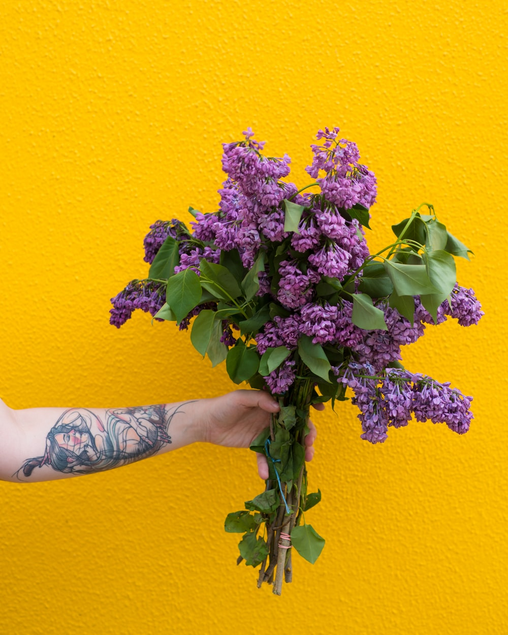 person holding bouquet of purple flowers