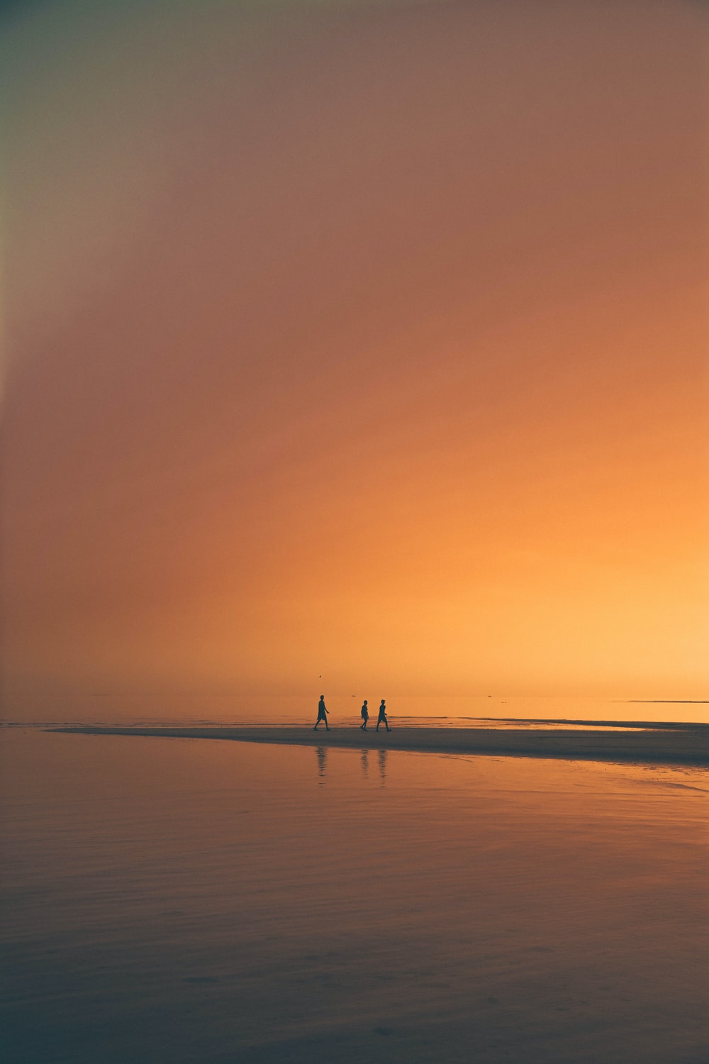 silhoutte of three person on beach