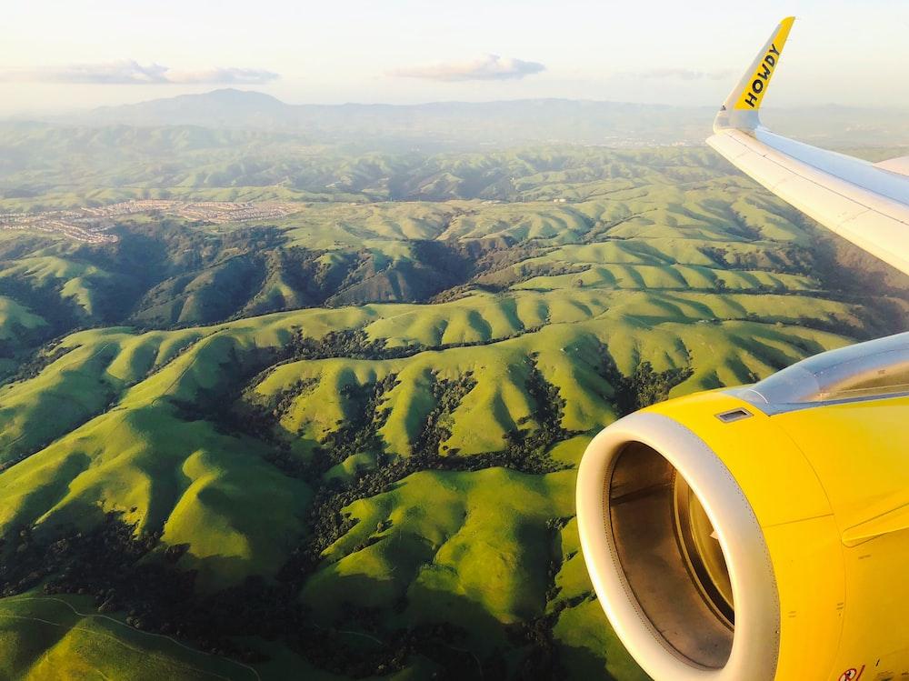yellow and white airplane