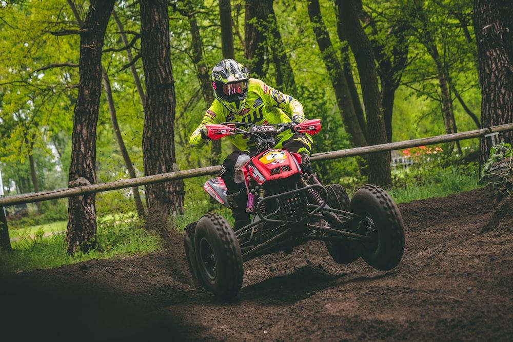 person riding on ATV