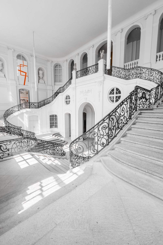 black floral metal handrails in building