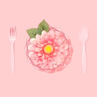 flat lay photography of disposable spoon, fork, and pink petaled flower