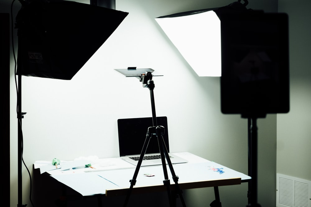 white soft box and desk