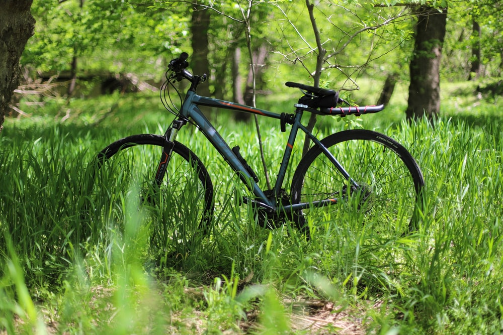 gray hardtail mountain bike in grass