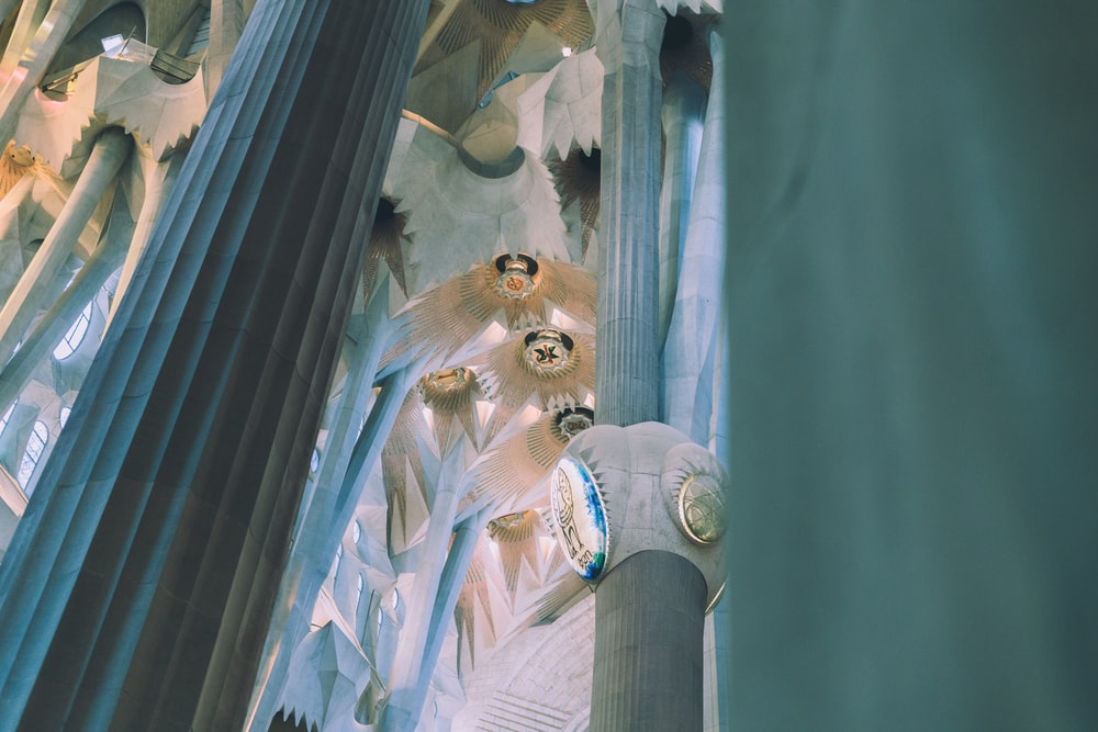 low-angle photography of white columns