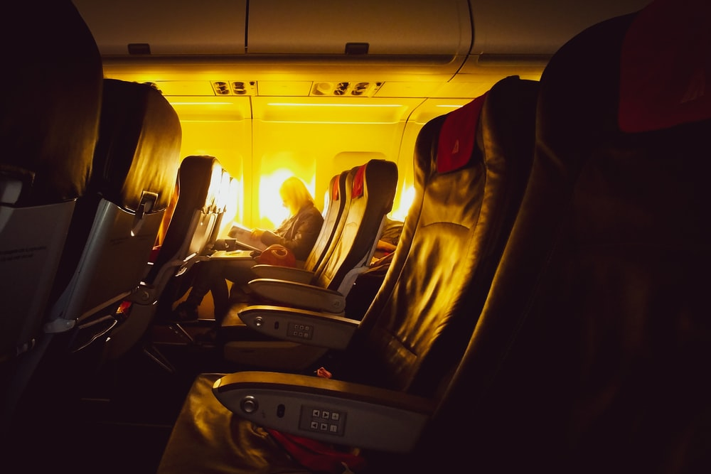 black leather airplane seats