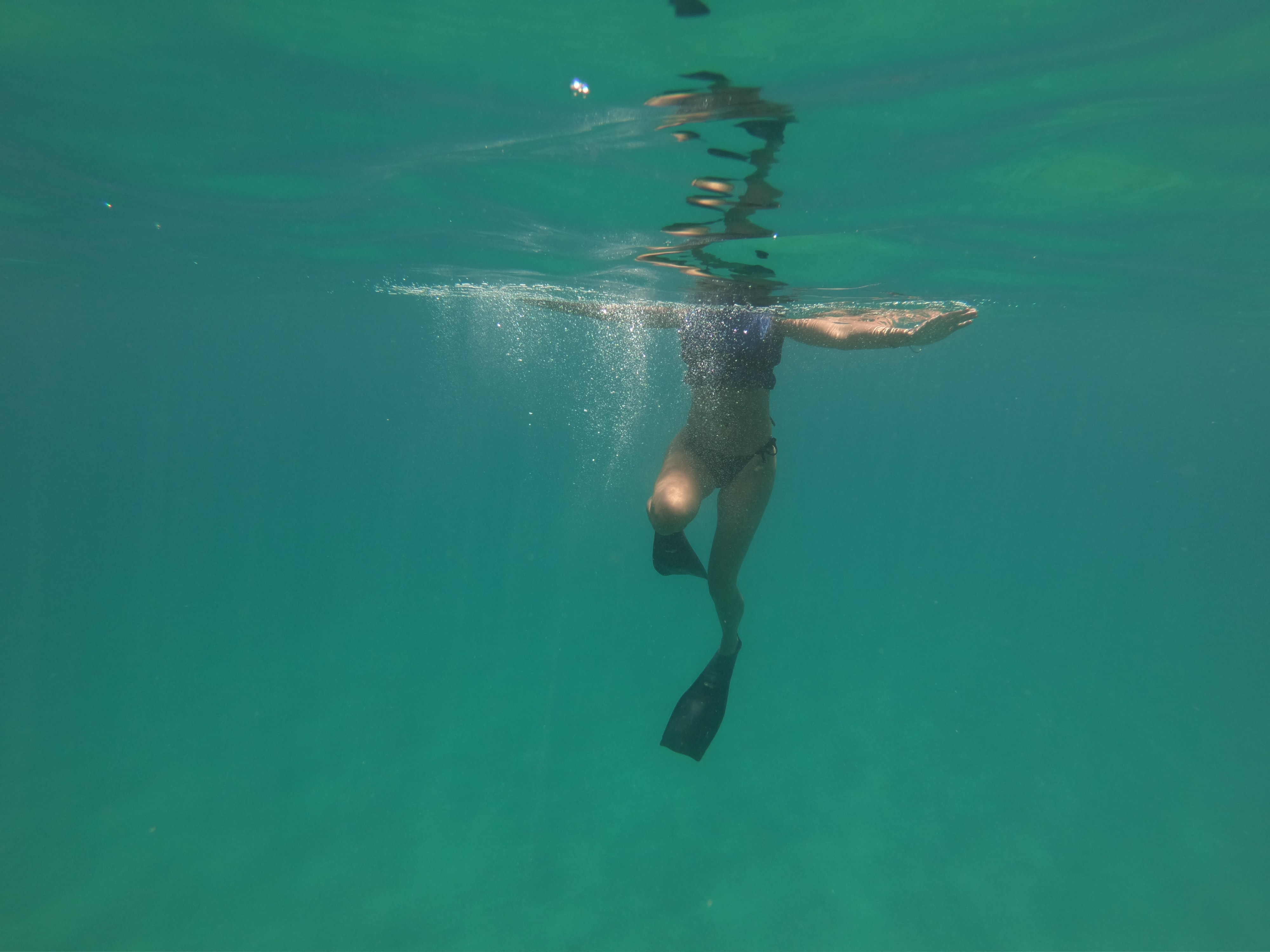 woman diving flippers swimming during daytime