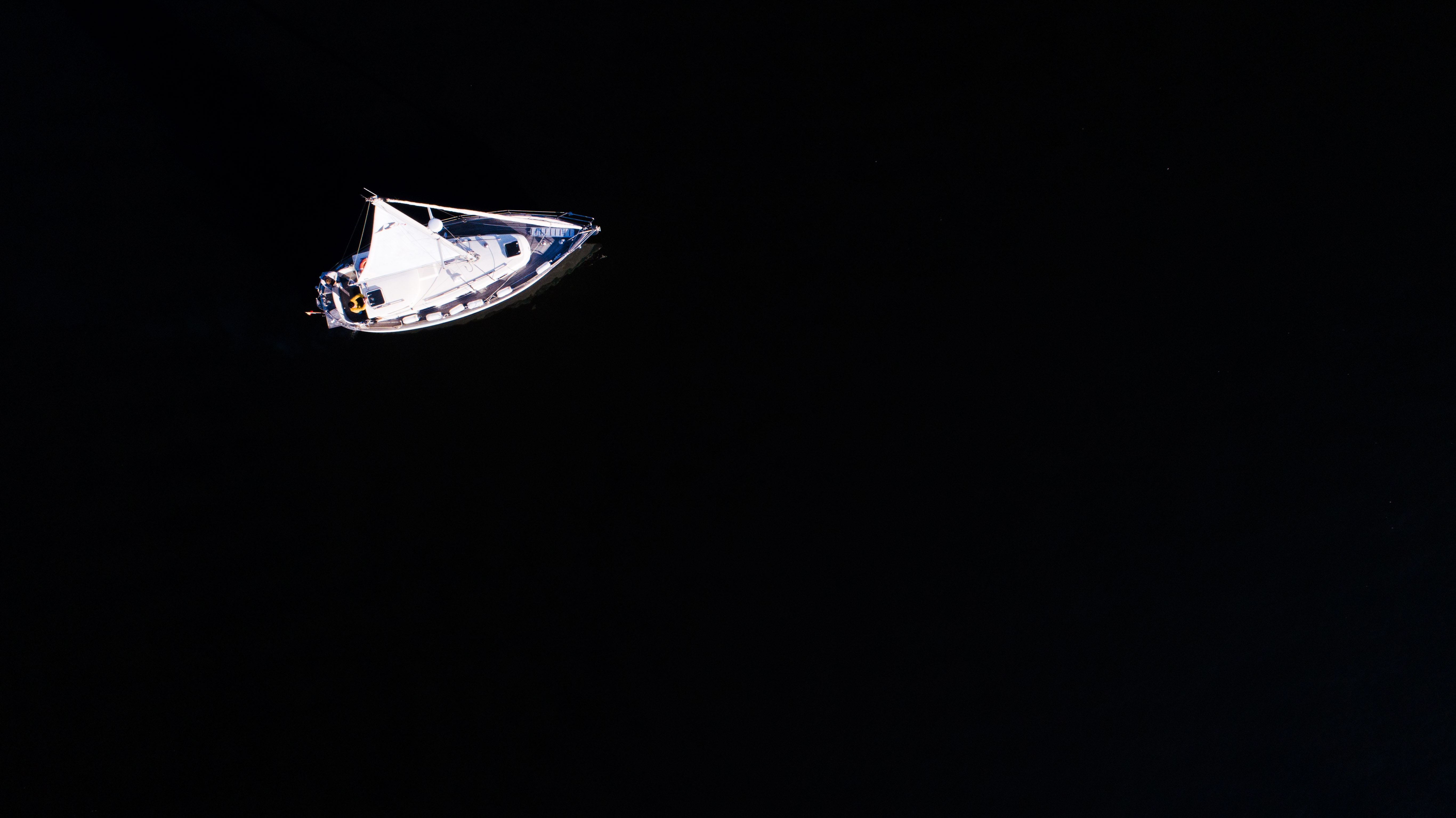 aerial photography of white yacht at sea