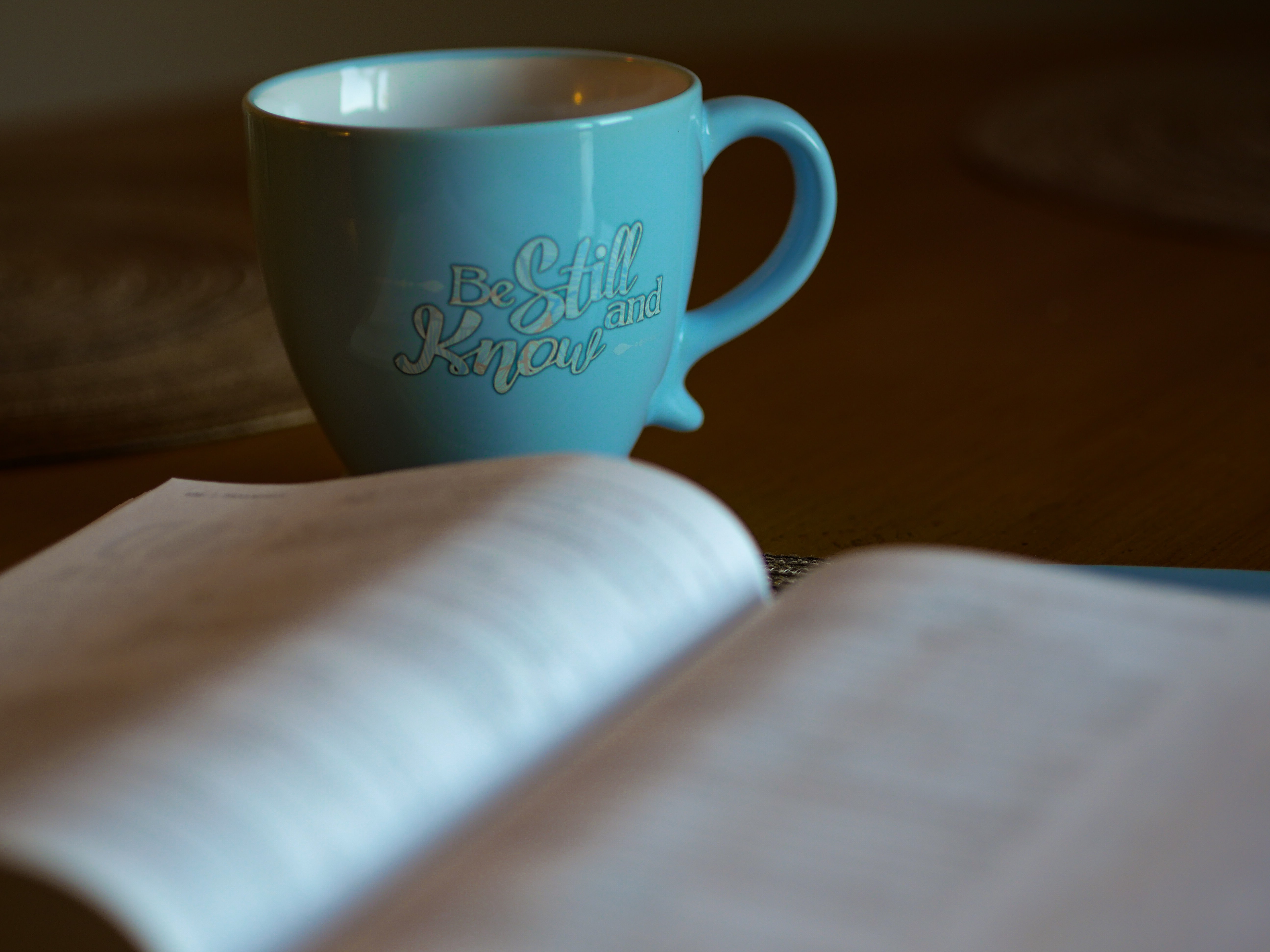 shallow focus photography of open book beside blue ceramic cup
