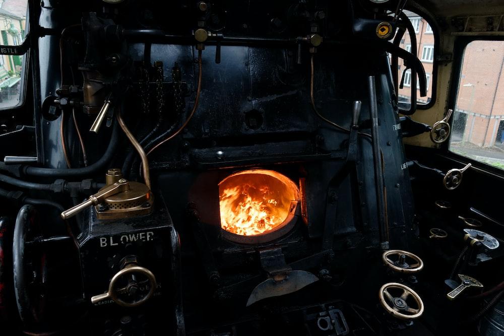 black metal opened charcoal burner