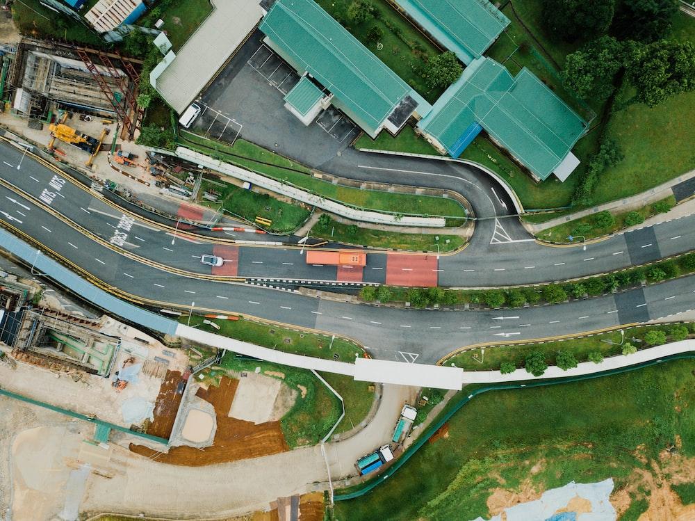 bird's eye view of road beside houses