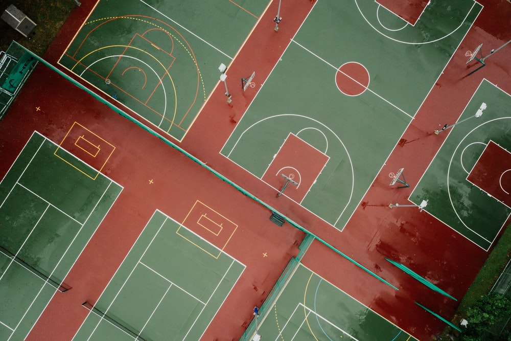 bird's eye photography of basketball court