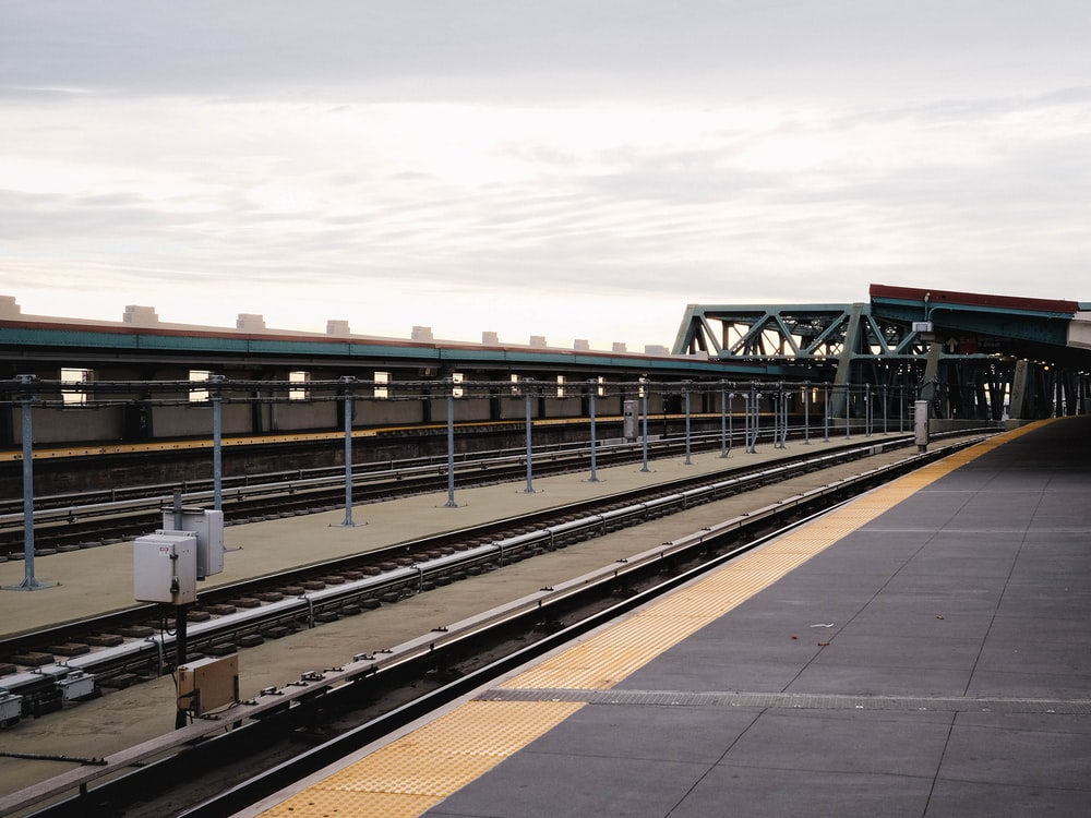 landscape photo of train station