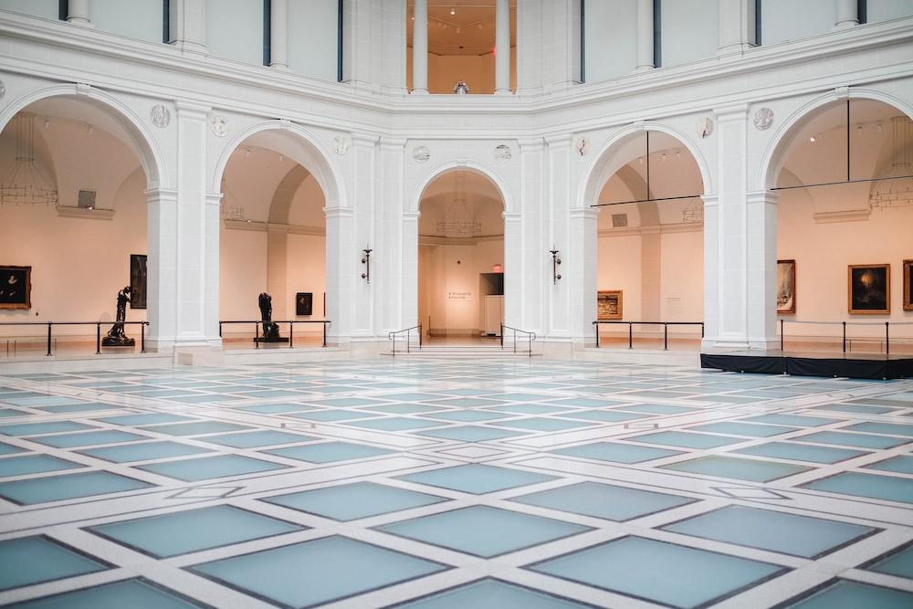 blue and white ceramic tile flooring