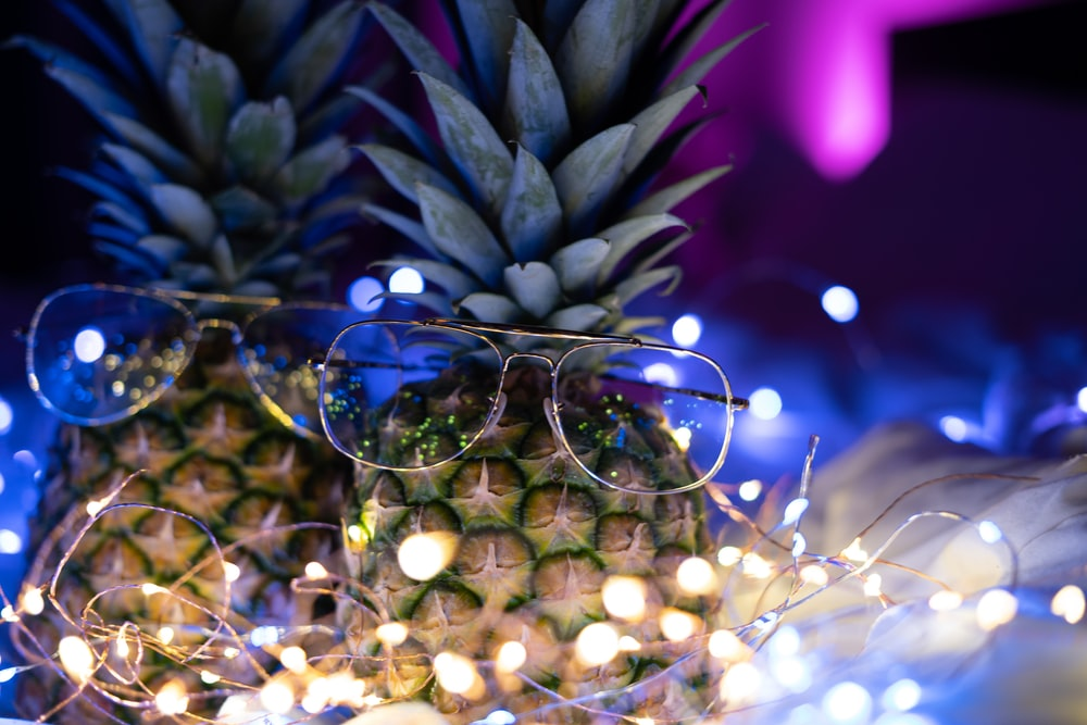 two pineapples with eyeglasses