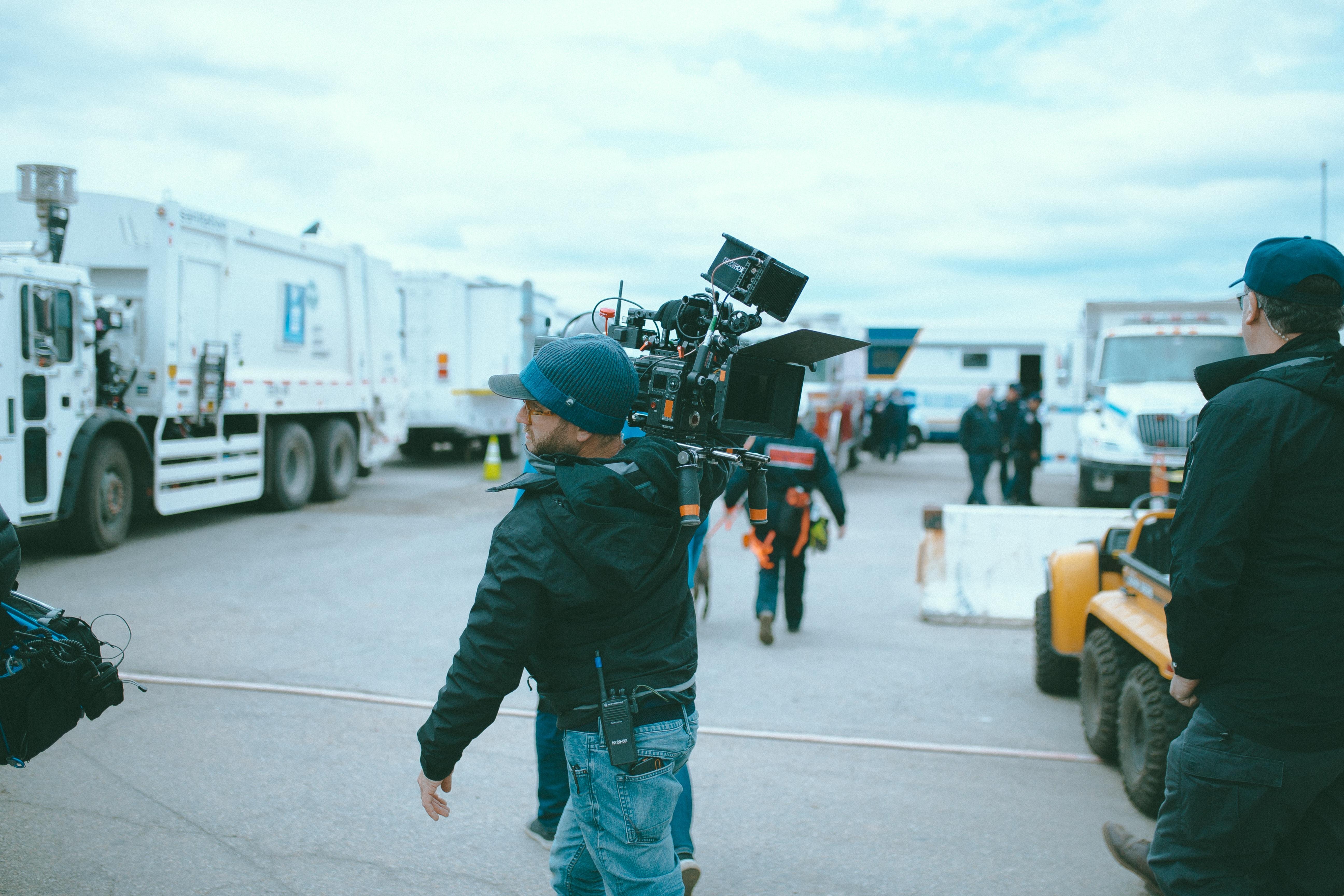 camera operator on television set