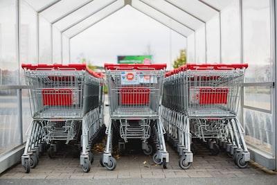 Supermarket discounter mall - shopping cart