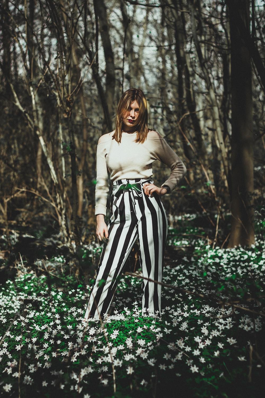 woman standing on garden