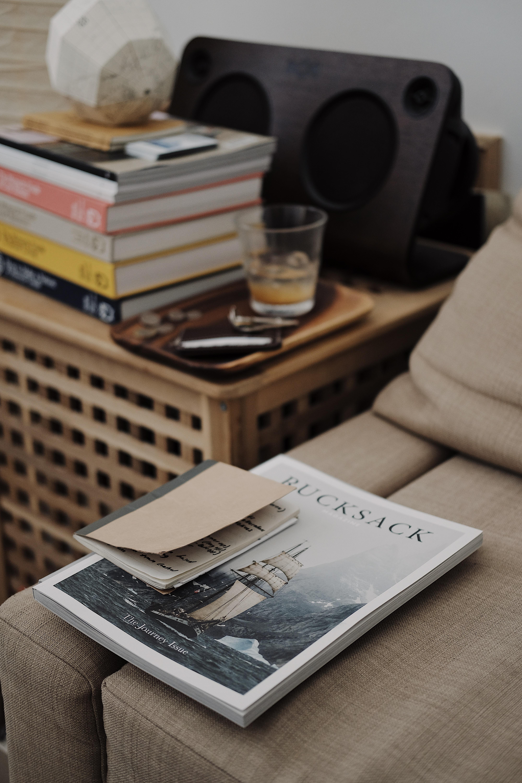 Bucksack book on brown sofa