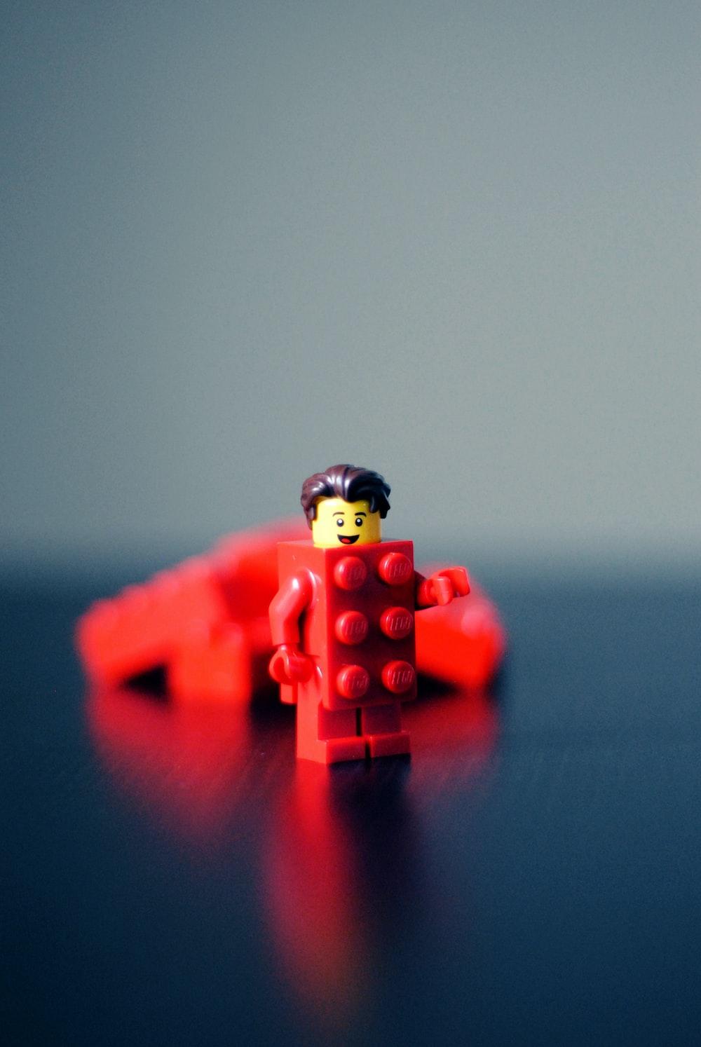 red Lego minifigure