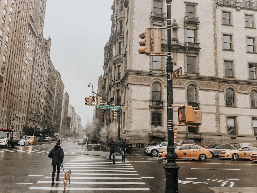 man walking on pedestrian lane