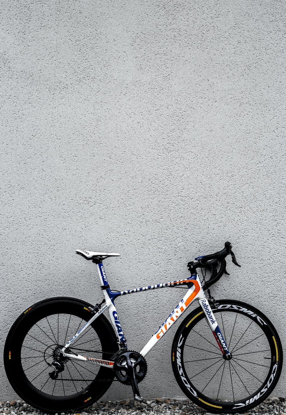 white and black Giant road bike