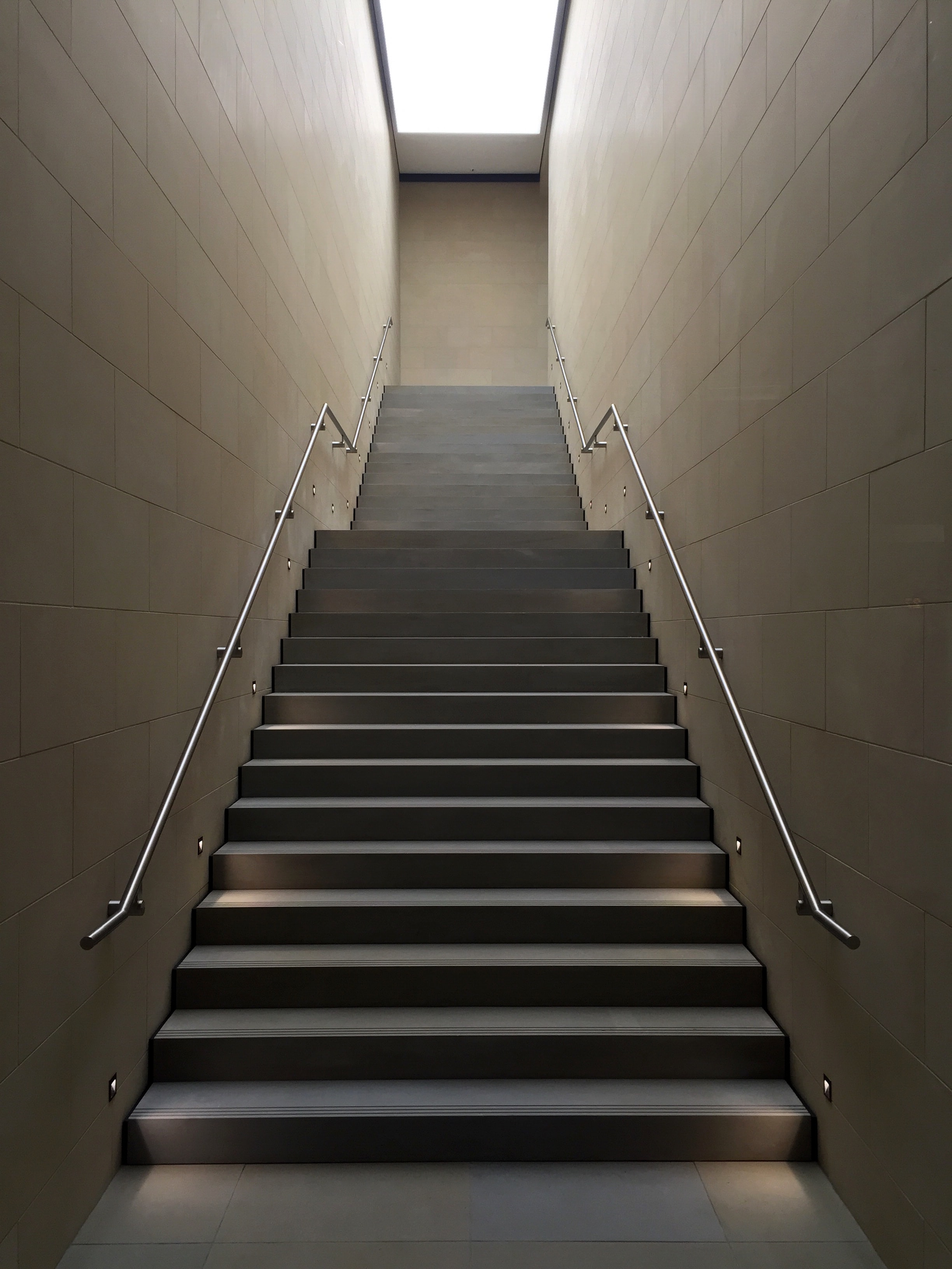 Gray Concrete Stair With Gray Steel Handle