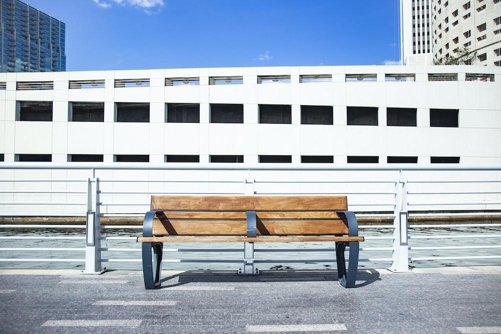 empty brown wooden bench