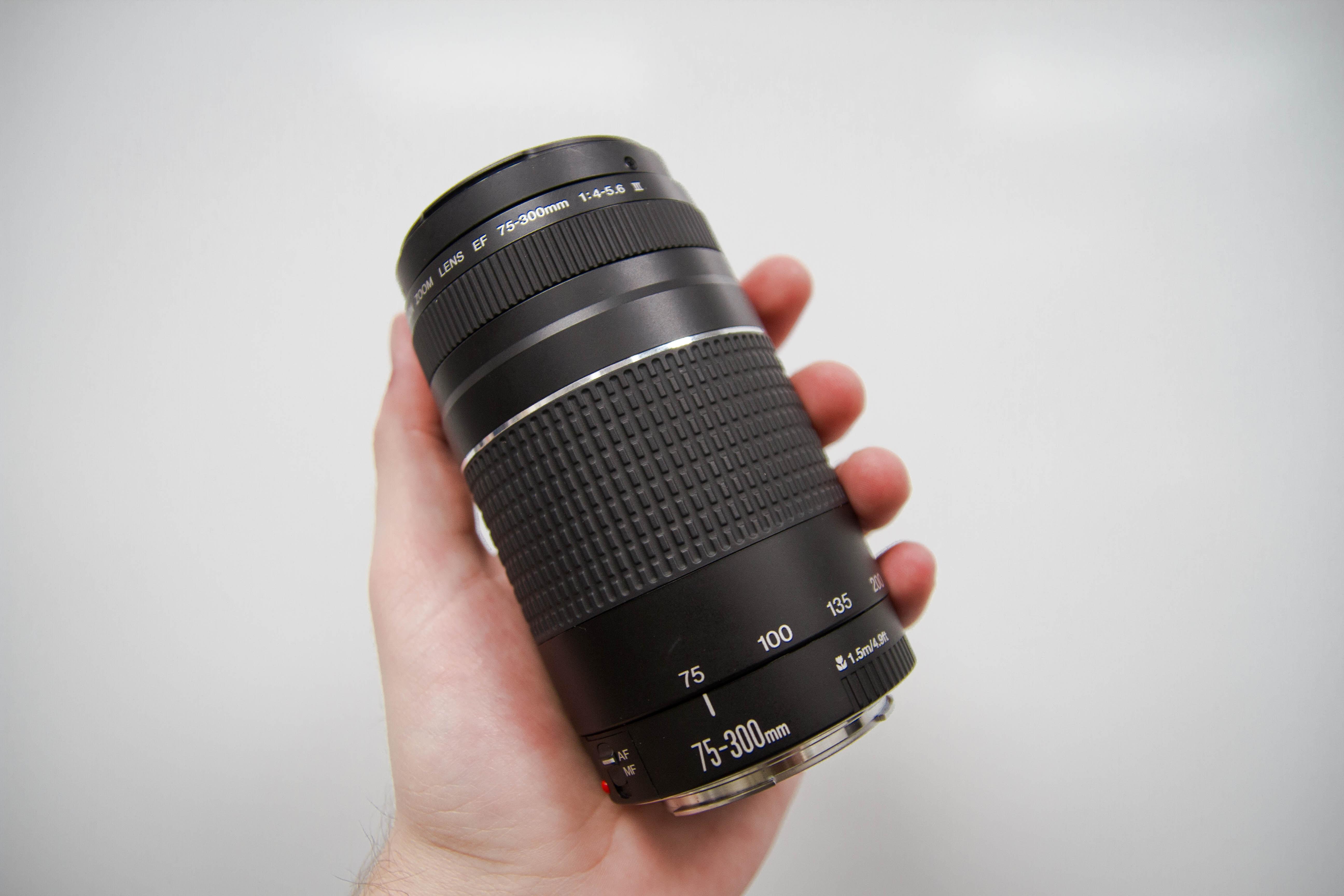 person hplding black Nikon 75-300 mm camera lens
